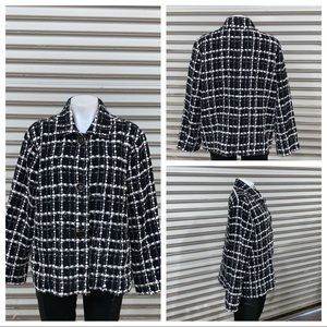 Chico's button up jacket black and white